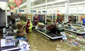 The shops under water